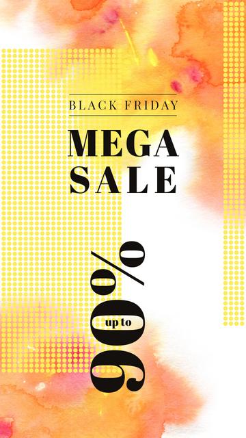 Black Friday Sale Yellow paint blots Instagram Storyデザインテンプレート