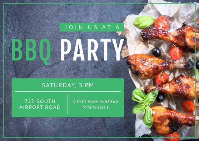 BBQ Party Invitation Grilled Chicken Postcard Modelo de Design