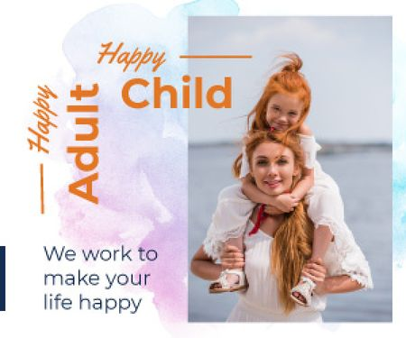 Happy Mother with Her Daughter Medium Rectangle Design Template