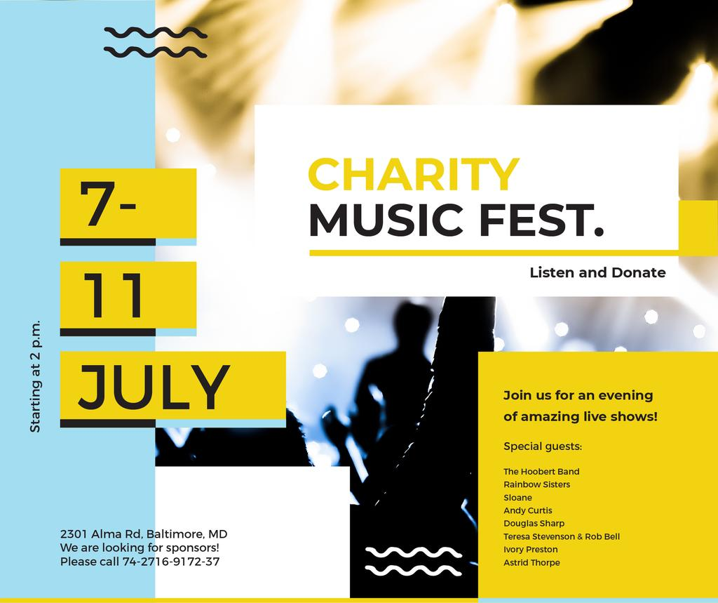Music Fest Invitation Crowd at Concert | Facebook Post Template — Створити дизайн