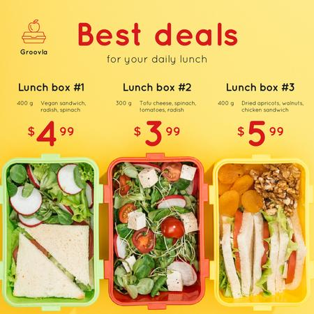 Daily Lunch Deals Boxes with Healthy Food Instagram Tasarım Şablonu