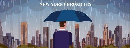Modèle de visuel Man with umbrella under rain looking at city - Facebook Video cover
