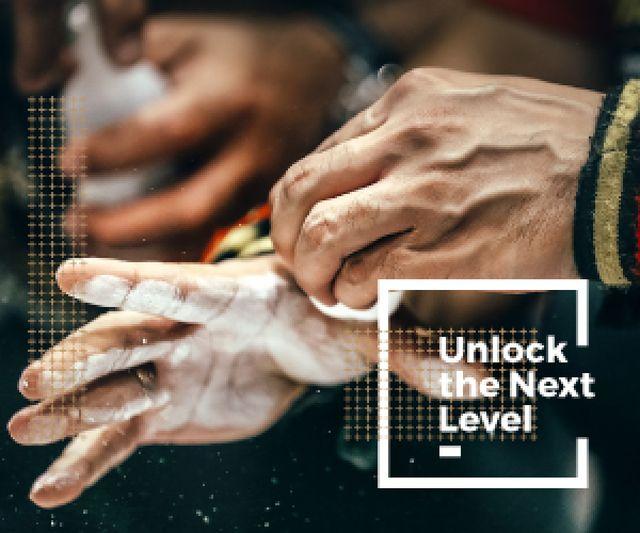 Motivational Sport Poster Climber Holding Chalk Medium Rectangle – шаблон для дизайна