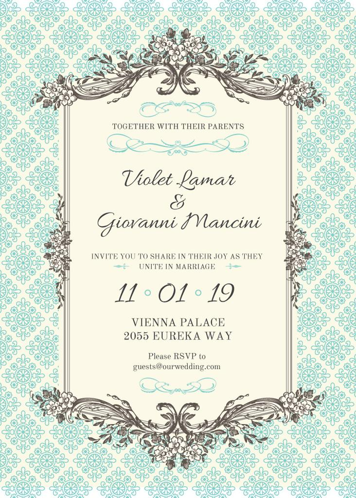 Wedding Invitation in Vintage Style in Blue — Создать дизайн