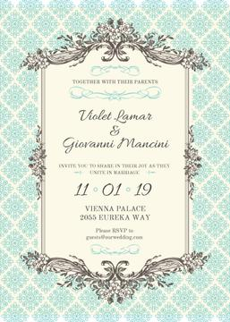 Wedding Blue Invitation in Vintage Style