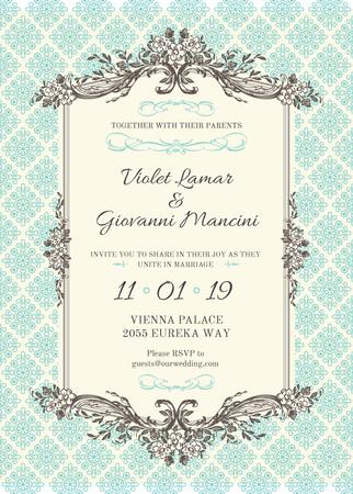 Wedding Invitation in Vintage Style in Blue Invitation – шаблон для дизайну