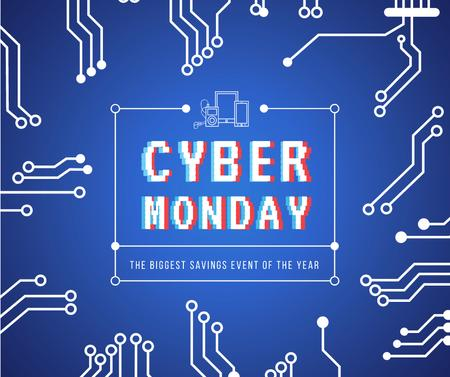 Cyber Monday sale Computer circuit board Facebook Modelo de Design