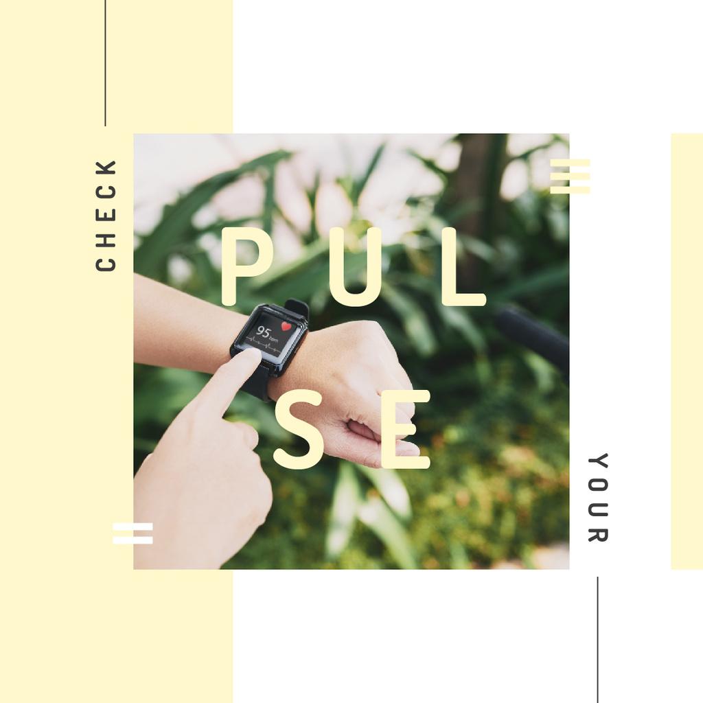 Man checking his pulse on smart watch — Создать дизайн