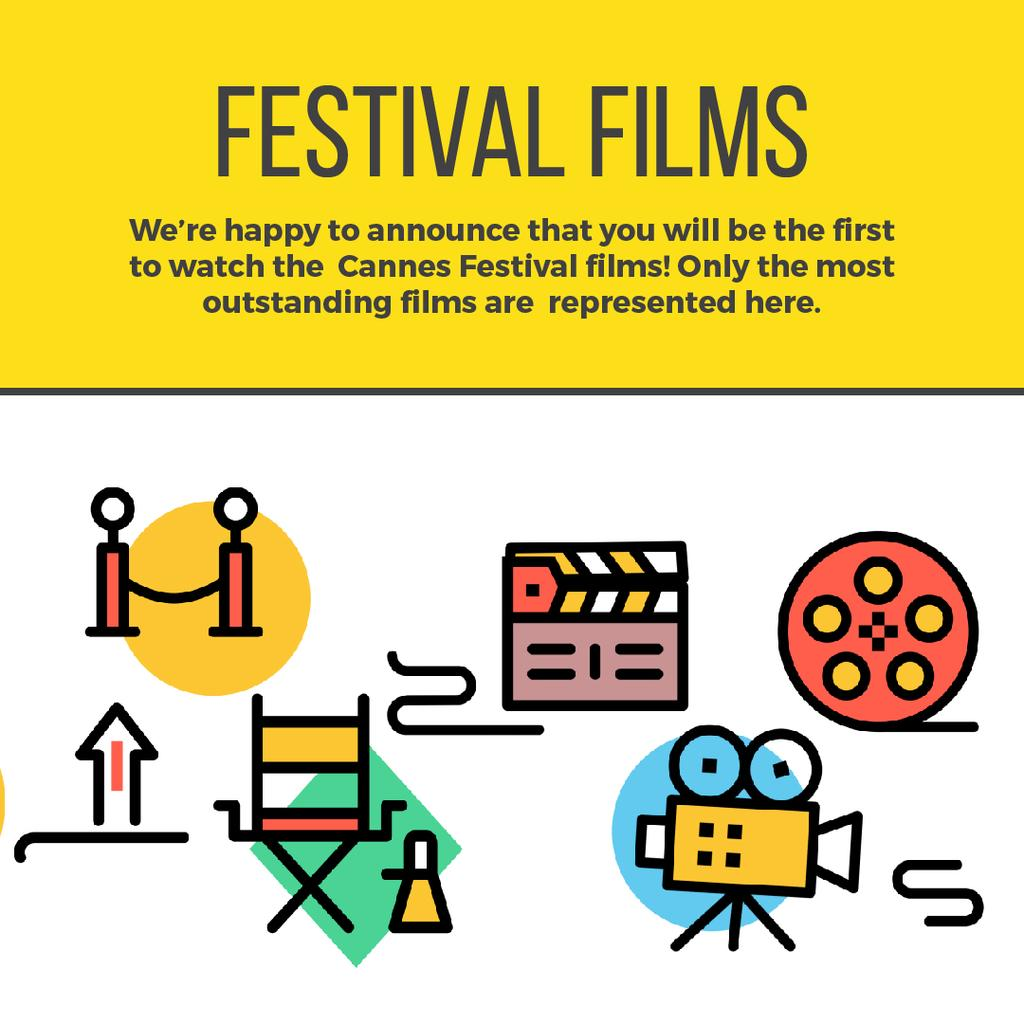 Movie festival Announcement with Film icons — Create a Design
