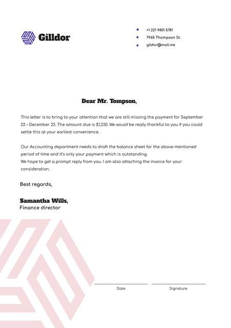 Official Payment request Letterhead – шаблон для дизайна