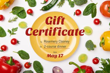 Dinner Offer with Plate and Vegetables Gift Certificate Design Template