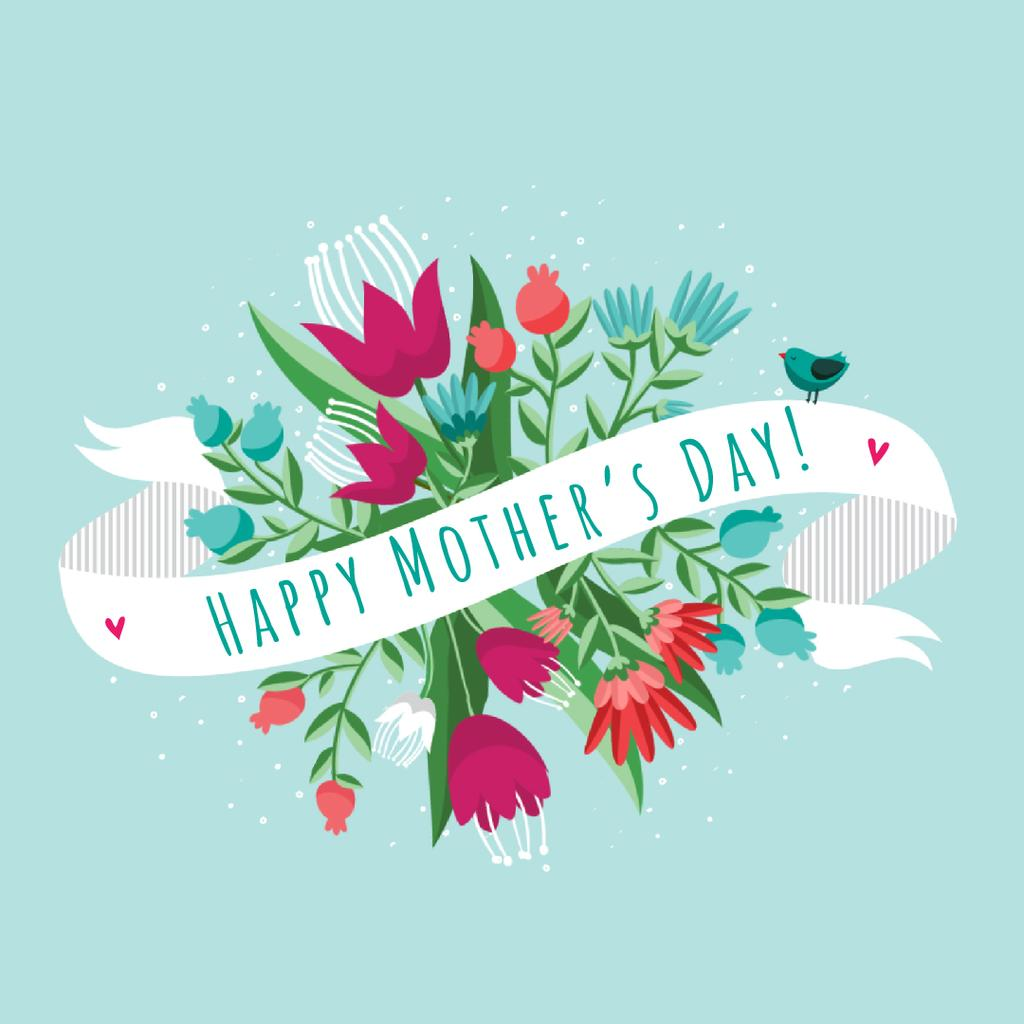Mother's Day Greeting Ribbon with Flowers and Bird — Modelo de projeto