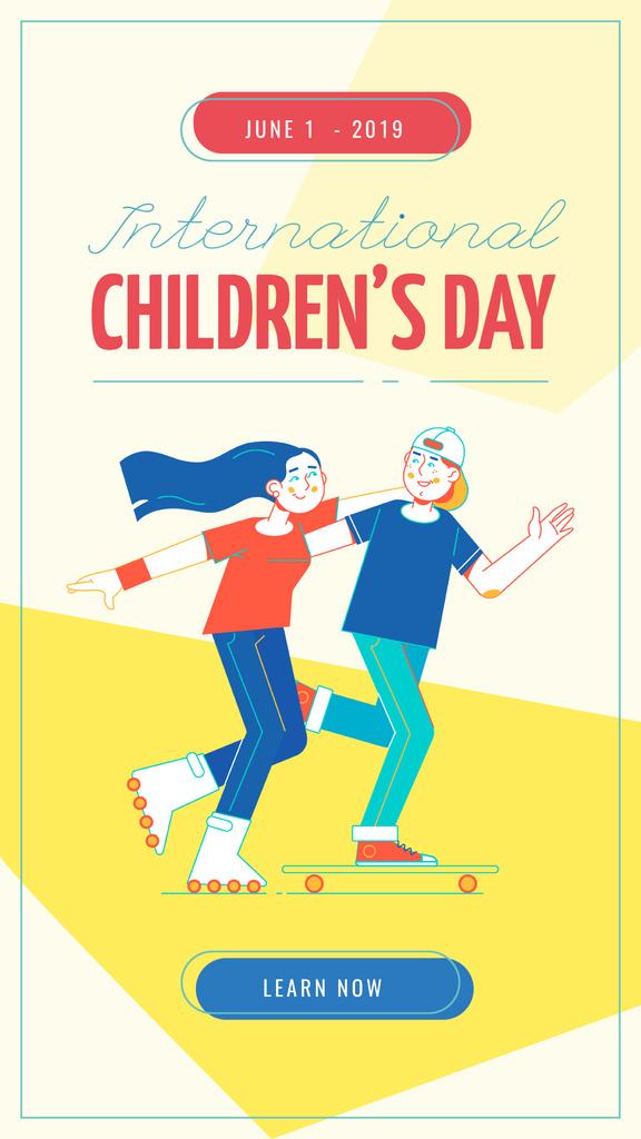 Kids riding skateboard and roller skates — Crea un design