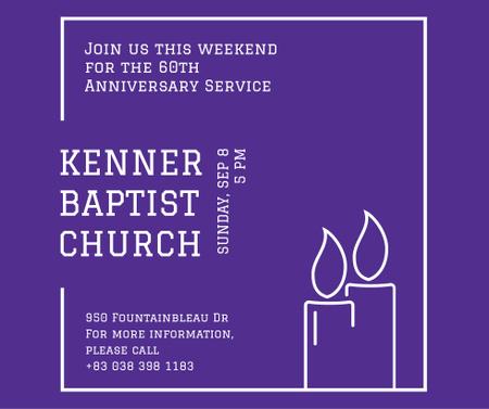 Church invitation with Candles in frame Facebook Tasarım Şablonu