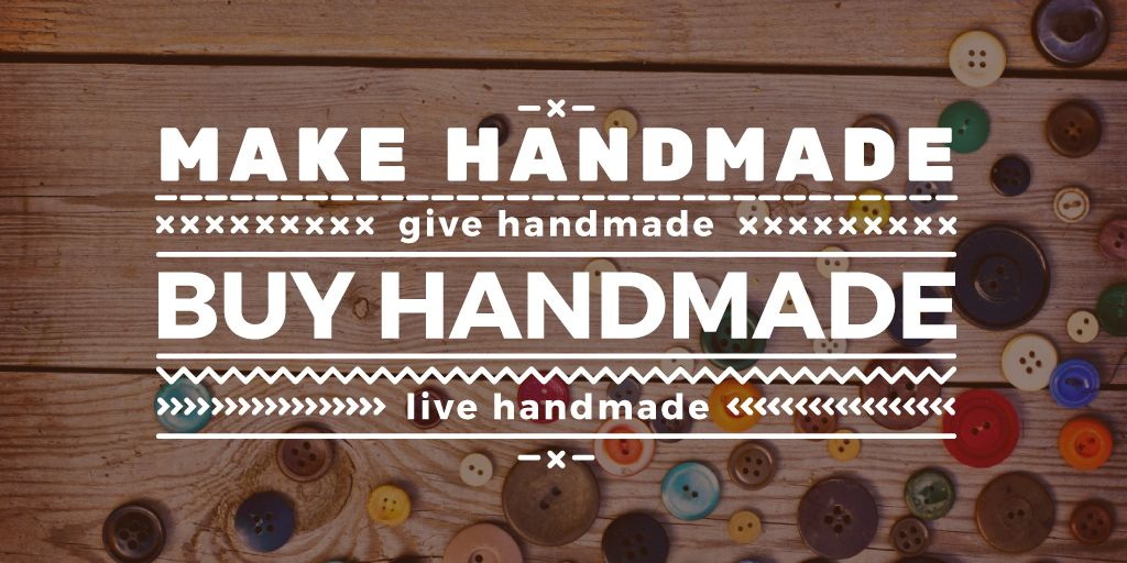 Handmade workshop with colorful buttons Twitter Design Template
