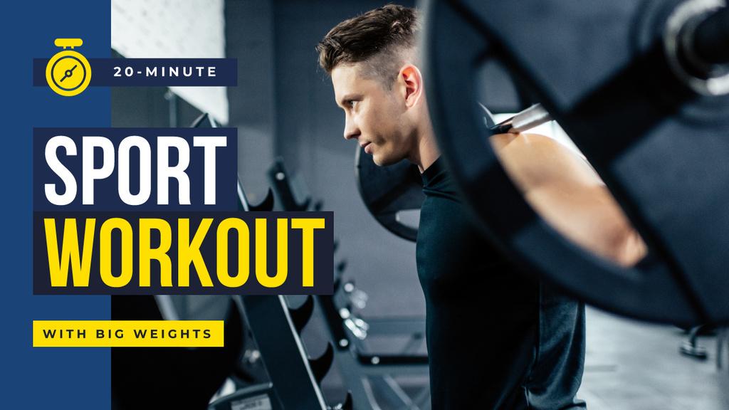 Gym Promotion Man Lifting Barbell Youtube Thumbnail – шаблон для дизайна