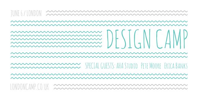 Design camp announcement on Blue waves Image Design Template