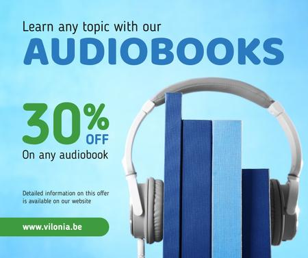 Audio books Offer with Headphones Facebook Modelo de Design