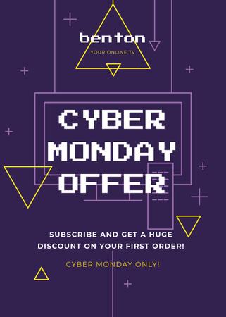 Szablon projektu Cyber Monday Sale Digital Pattern in Purple Flayer
