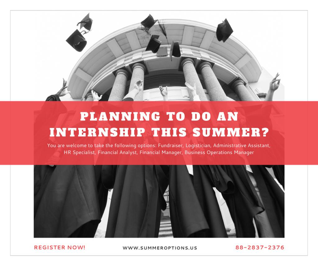 Summer internship Graduates with diplomas Facebook Design Template