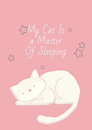 Ontwerpsjabloon van Poster van Citation about sleeping cat