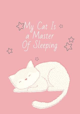 Plantilla de diseño de Citation about sleeping cat Poster