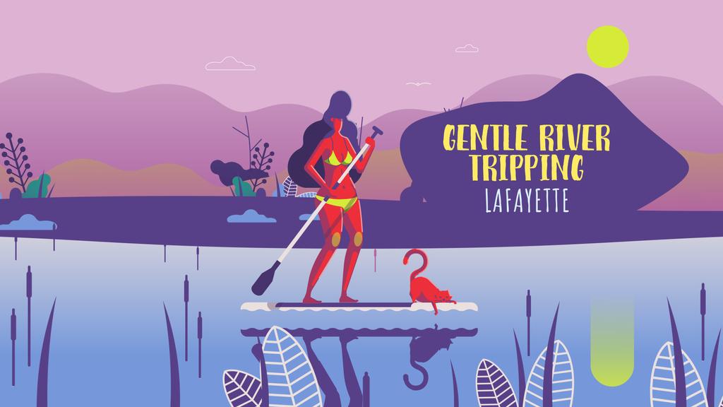 Woman paddleboarding on calm river — Створити дизайн