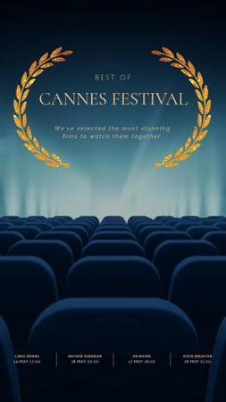 Plantilla de diseño de Cannes Film Festival Seats in Cinema in Blue Instagram Video Story