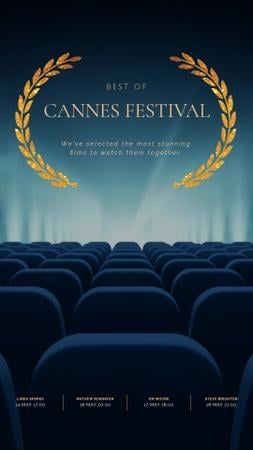 Cannes Film Festival Seats in Cinema in Blue Instagram Video Story Modelo de Design