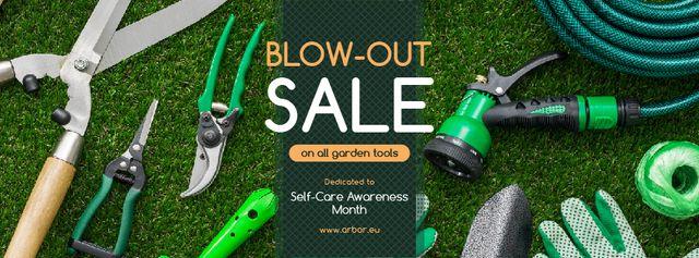 Self-Care Awareness Month Sale Gardening Tools Facebook cover Design Template