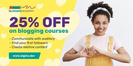 Plantilla de diseño de Lifestyle Blog Ad Woman Showing Heart Symbol in Yellow Image
