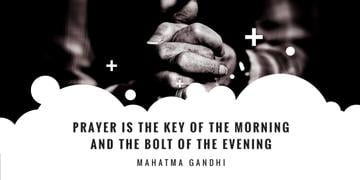 Faith Quote with Hands Clasped in Prayer