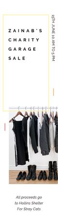 Template di design Charity Sale Announcement Black Clothes on Hangers Skyscraper