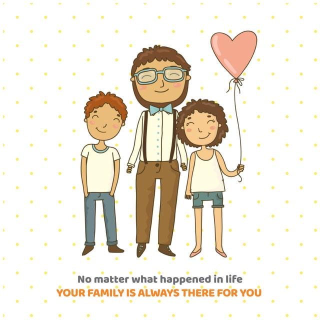 Template di design Father hugging smiling kids Animated Post