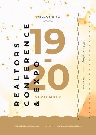 Plantilla de diseño de Business Conference announcement on Lines and paint blots Invitation