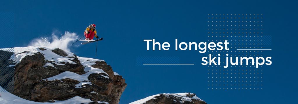 Plantilla de diseño de Ski Jumping Inspiration Man Skiing in Mountains Tumblr