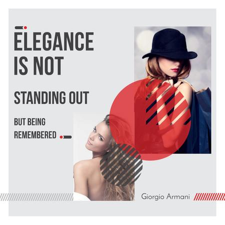 Citation about Elegance with Stylish Woman Instagram Tasarım Şablonu