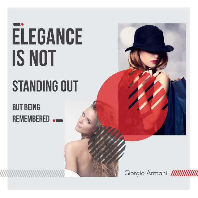 Citation about Elegance with Stylish Woman Instagram Tasarım Şablonu