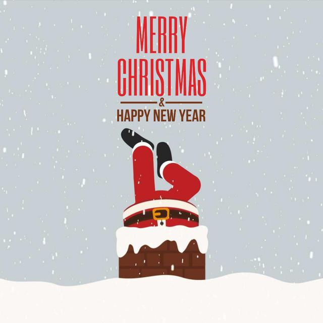 Plantilla de diseño de Santa stuck in chimney Animated Post