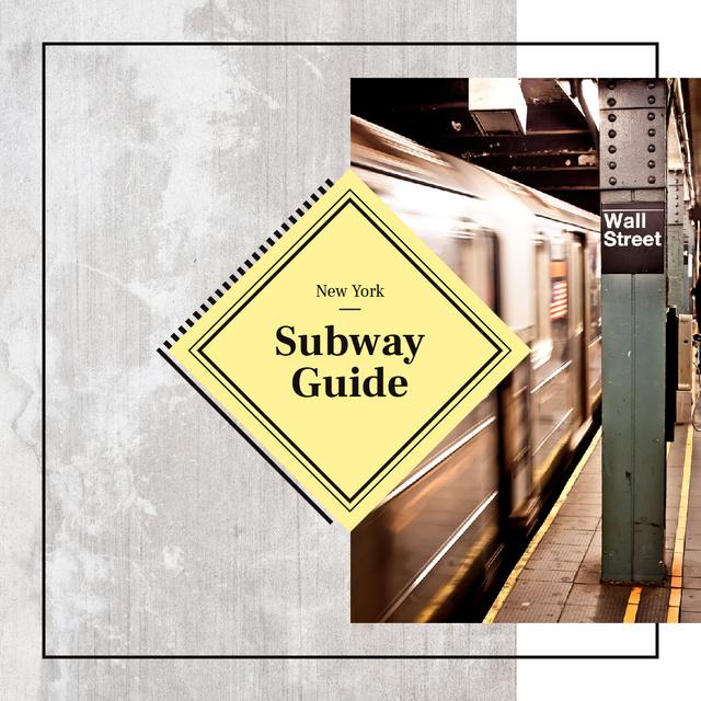 Designvorlage Train in New York subway für Instagram
