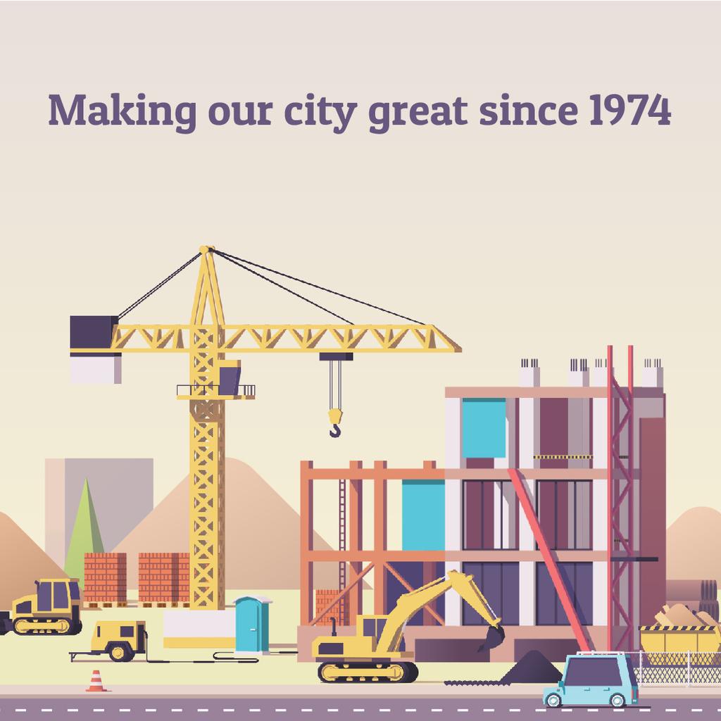 Crane on Construction Site — Crear un diseño