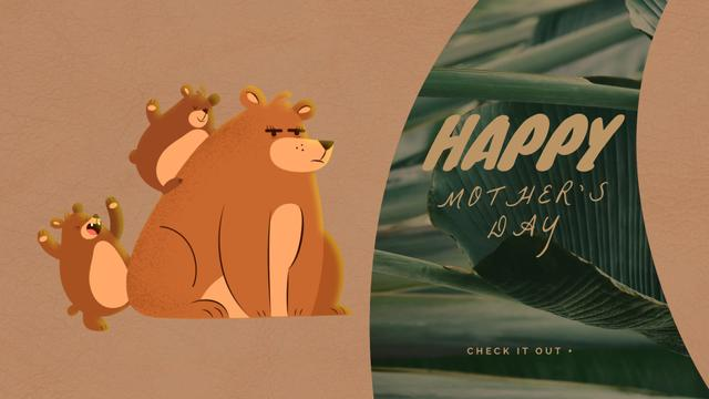 Mother bear with little cubs Full HD video Design Template