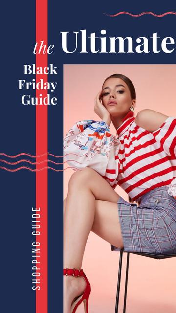 Plantilla de diseño de Black Friday Sale Young woman wearing bright clothes Instagram Story