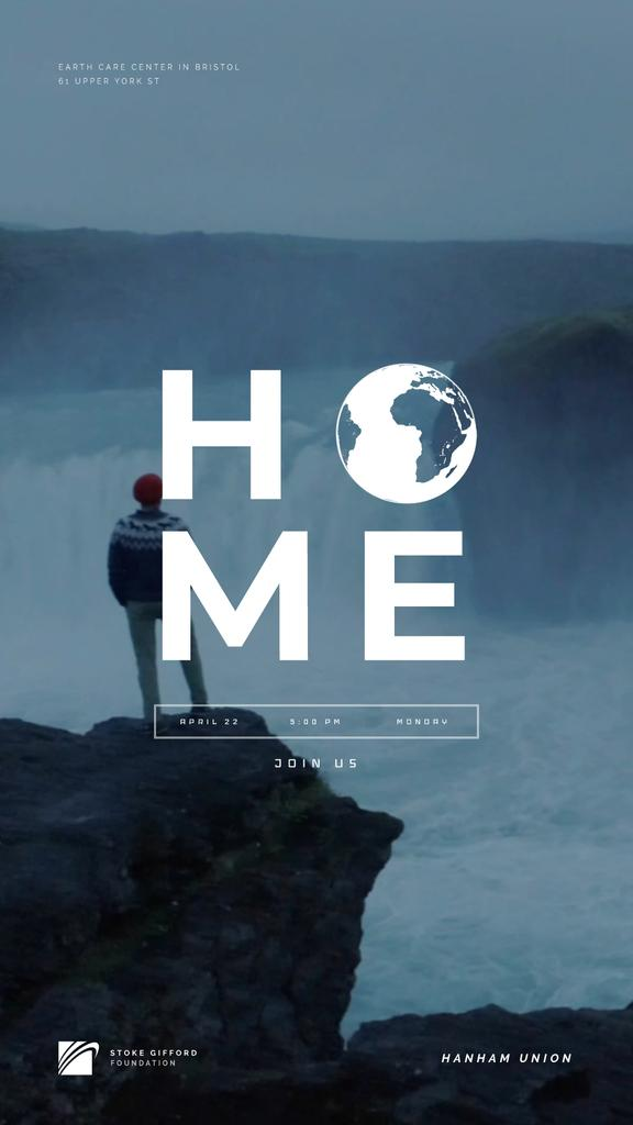 Man Admiring Waterfall View Home Word Earth Icon | Vertical Video Template — Create a Design