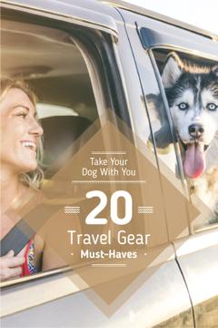 Travelling with Pet Woman and Dog in Car | Tumblr Graphics Template