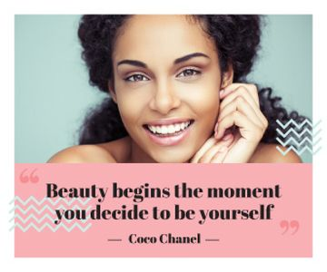 Beautiful young woman with inspirational quote of Coco Chanel