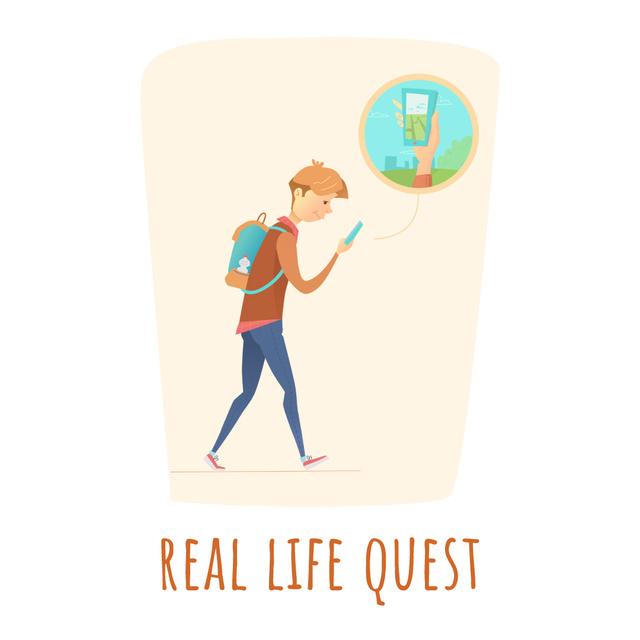 Template di design Man using phone navigation app Animated Post