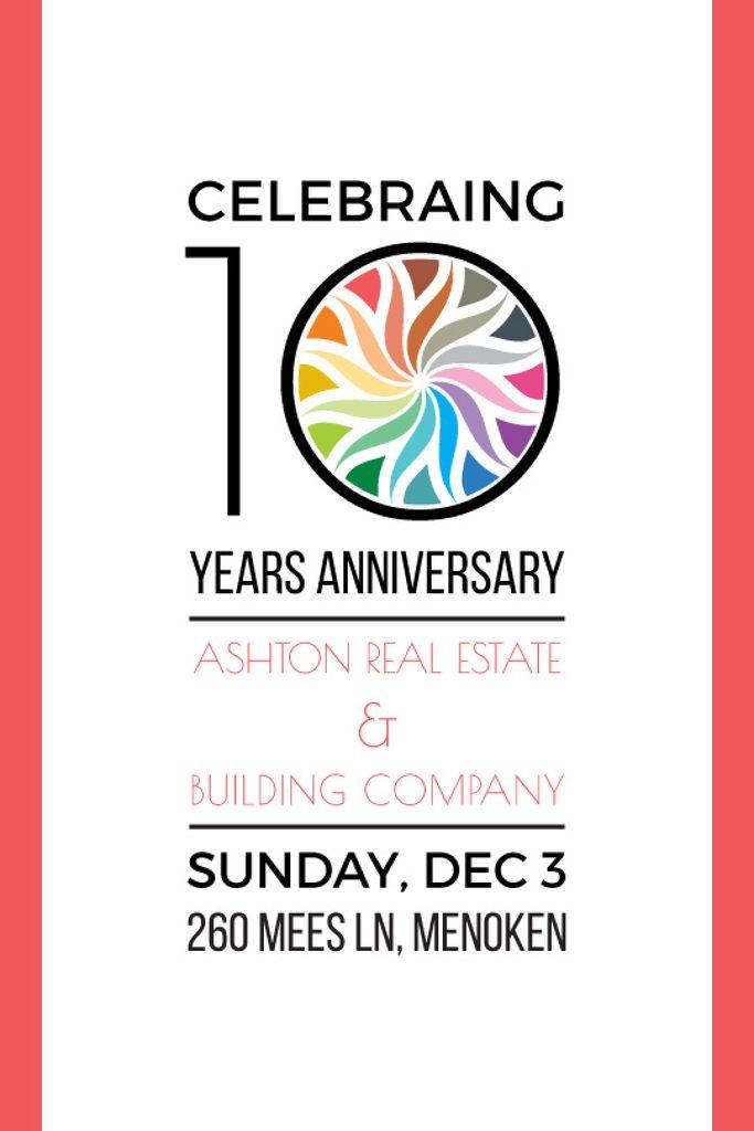 10 Years Anniversary Invitation Simple Frame Tumblr Design Template