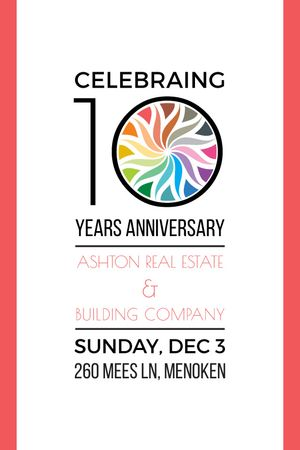 10 Years Anniversary Invitation Simple Frame Tumblr Modelo de Design