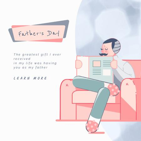 Father's Day with Father and kids reading newspaper Animated Post Modelo de Design